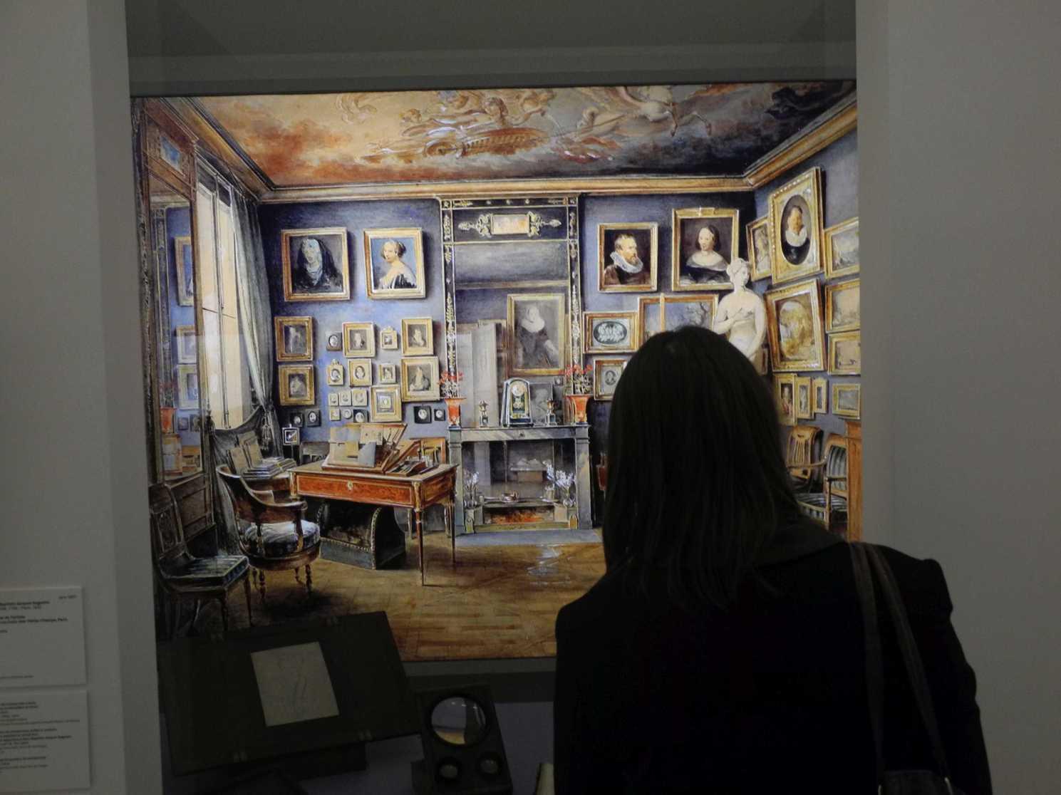 Blick in das Atelier eines Miniaturenmalers, keine Staffelei, ein Tischchen reicht