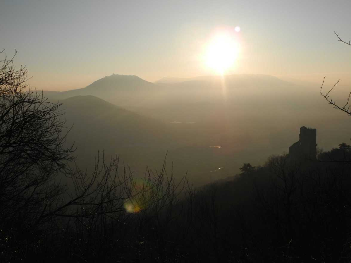 Der schöne Schein trügt nicht. Da vorne, da ist die Ortenburg und links, schon auf der anderen Hügelkette, thront die Hohkönigsburg. Schöne Grüße aus dem Zentralelsass. (Wir waren wandern.) Foto: Cames
