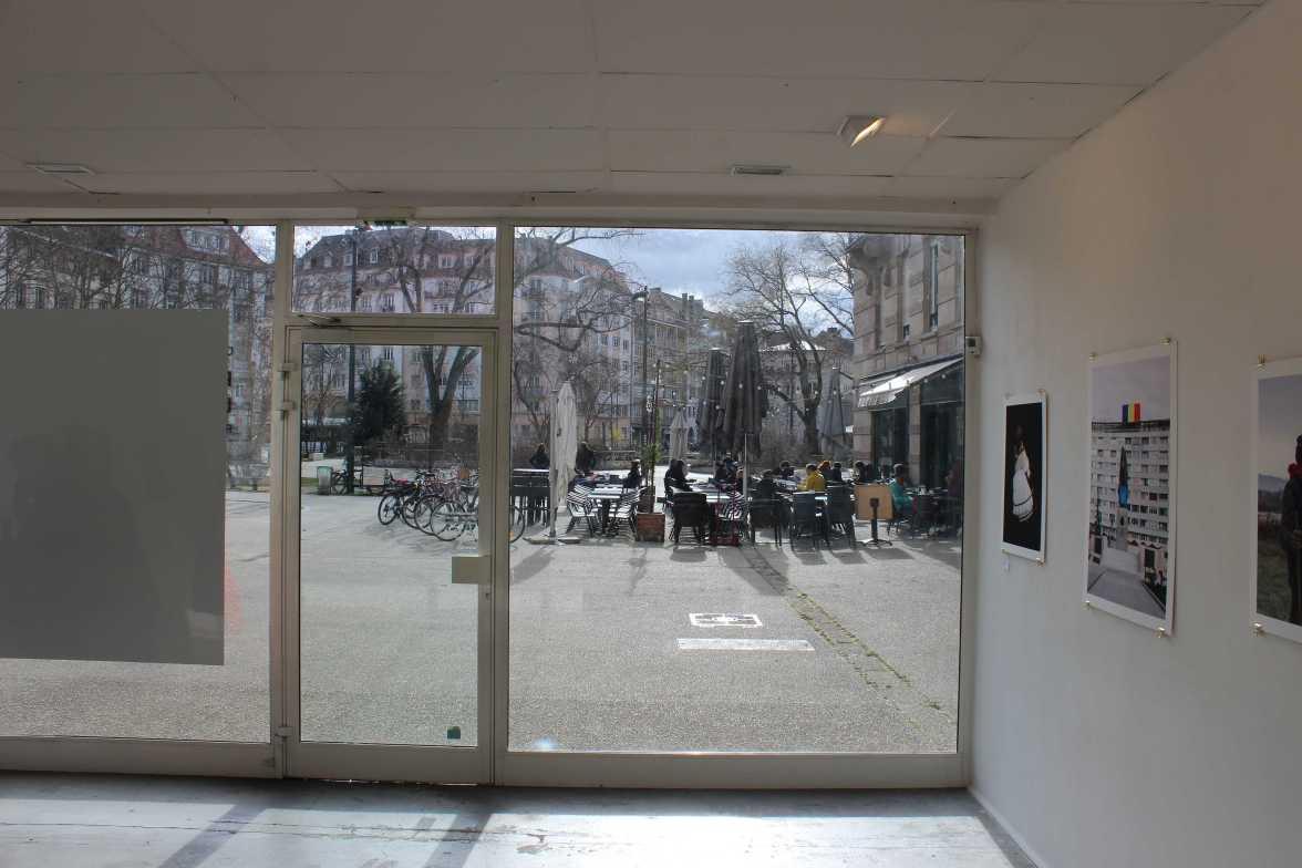 """Blick aus der Fotogalerie """"La Chambre"""" am Austerlitz-Platz, Straßburg"""